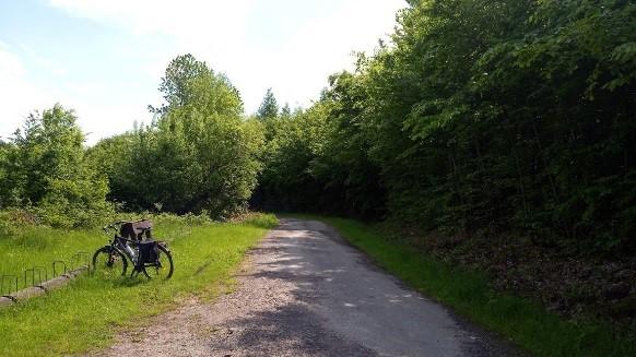 Pihenőhely a Kékestető-Parádfürdő kerékpáros túraútvonalon.