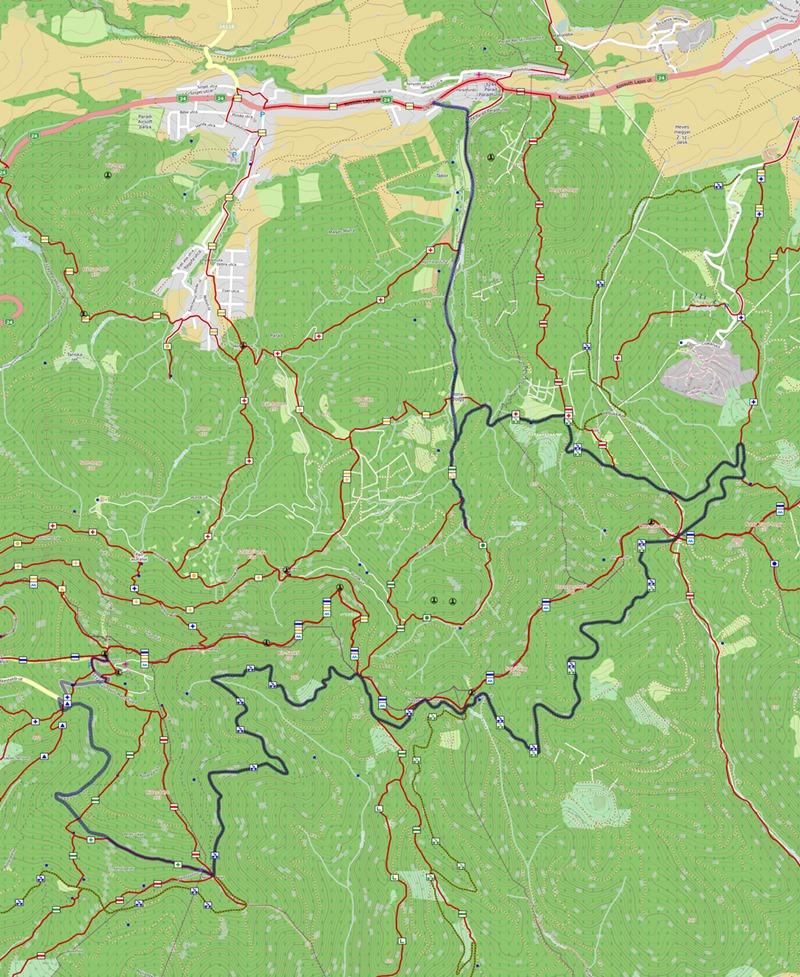 Kékestető-Parádfürdő kerékpáros túra, térkép